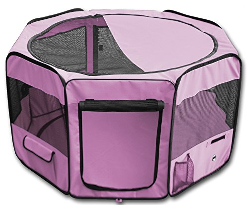 YoYo Moon 45″ Pet Puppy Dog Playpen Exercise Puppy Pen Kennel 600d Oxford Cloth Pink