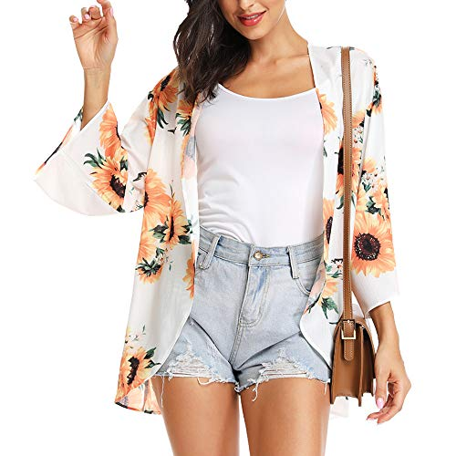 INWECH Women's Summer Tops Casual Loose Beach Cover Up Sunflower Cardigan Blouse Top Kimono (Sunflower-White, Small)