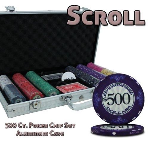 300 Ct Scroll 10 Gram Ceramic Poker Chip Set - Aluminum Case (300 Aluminum Chip Case)