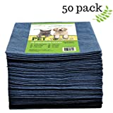 "DAVELEN Disposable Pet Towels (50-Pack), Super Absorbent, for Small, Medium, Large Dogs & Cats | Paws, Fur, Body Use | Bleach and Dye Free, Hygienic, Ecofriendly | Towels Size: 31.5"" x 15.5"" (Black)"