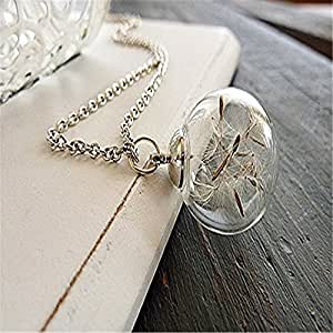 Hot sell wish necklace real dandelion for Best selling jewelry on amazon