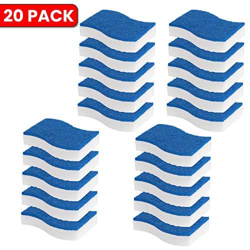 STK 20 Pack 2-in-1 Duo Magic Eraser and Scrub Sponge - Magic Eraser Pad with Tough Scrubbing Pad - Eraser Sponge - Heavy Duty Scrubber - Universal Cleaner - Kitchen - Bathroom - Car - Odor Free