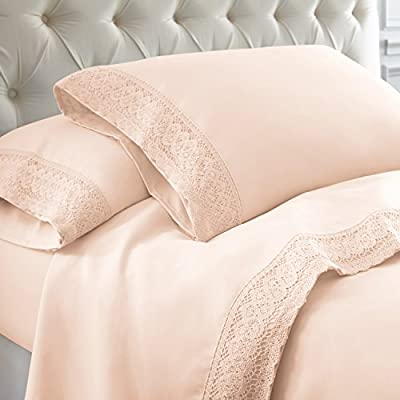 Amrapur Overseas 4-Piece Crochet Lace Bed Sheet Set, Queen, Blush - SET INCLUDES: (1) Flat sheet, (1) Fitted sheet, (2) Pillowcase MATERIALS: 100% Microfiber FEATURES: Stain and wrinkle resistant for easy care. Resists pilling, maintaining a smooth surface longer than cotton and other fibers. Soft and warm, microfiber retains body heat, making it ideal for cold nights. Perfect for all-season use. - sheet-sets, bedroom-sheets-comforters, bedroom - 51OXlqdMFiL. SS400  -