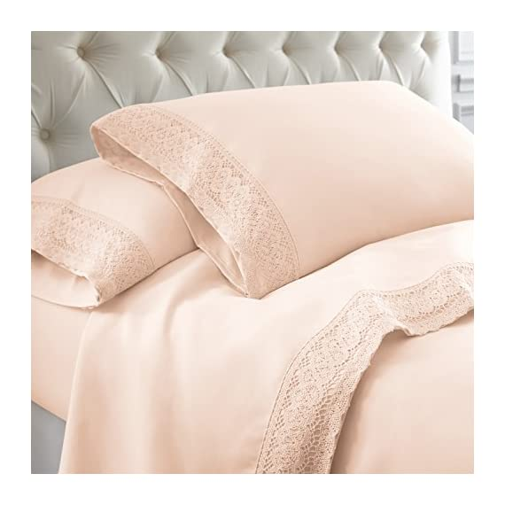 Amrapur Overseas 1MFLACEG-BLS-QN 4-Piece Crochet Lace Bed Sheet Set, Queen, Blush - SET INCLUDES: (1) Flat sheet, (1) Fitted sheet, (2) Pillowcase MATERIALS: 100% Microfiber FEATURES: Stain and wrinkle resistant for easy care. Resists pilling, maintaining a smooth surface longer than cotton and other fibers. Soft and warm, microfiber retains body heat, making it ideal for cold nights. Perfect for all-season use. - sheet-sets, bedroom-sheets-comforters, bedroom - 51OXlqdMFiL. SS570  -