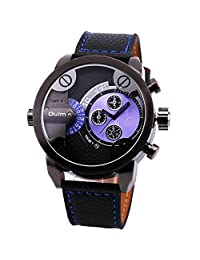 OULM Men's Fashion Quartz Wrist Watch Leather Strap Multi-function Rotational Sub Dial Dual Time Display Alloy Case + Gift Box
