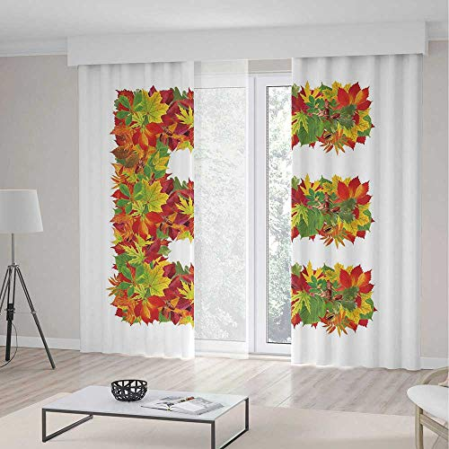(TecBillion Window Blackout Curtains,Letter E,for Bedroom Living Dining Room Kids Youth Room,Chestnut Maple Leaves Natural Oak Petals Vibrant Colors E Symbol Print,79Wx83L Inches)