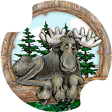 Thirstystone Big Sky Moose Car Cup Holder Coaster, 2-Pack