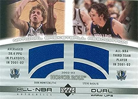 ea76f73b064 Dirk Nowitzki   Steve Nash player worn jersey patch basketball card ...