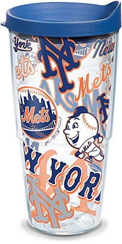 Tervis MLB New York Mets All Over Tumbler with BL2 Travel Lid, 24 oz, Clear