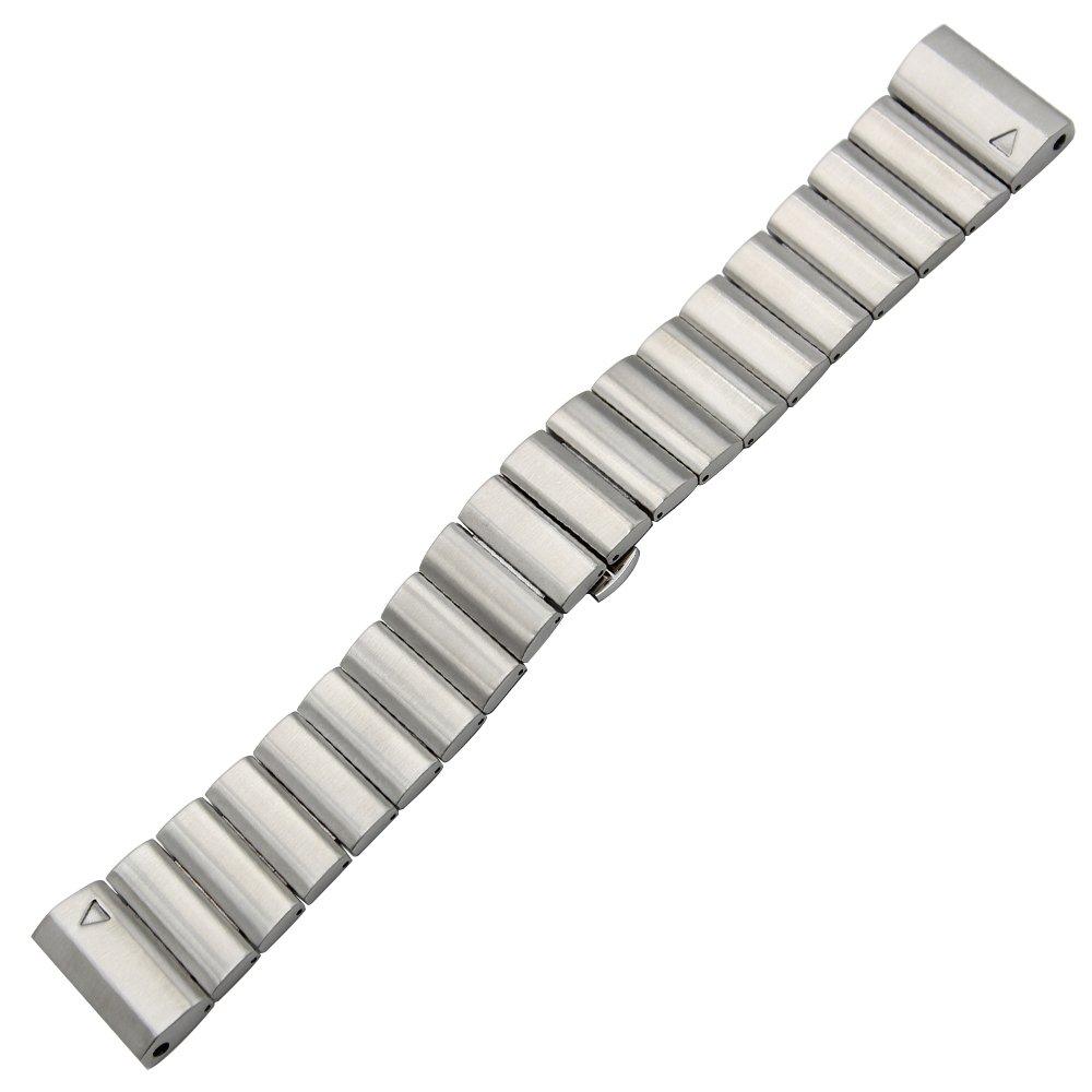TRUMiRR 26mm Banda de Reloj de Acero Inoxidable para Garmin Fenix 3 / Fenix 3 HR / Fenix 5X Correa de Hebilla de Mariposa con Herramienta de Eliminación de ...