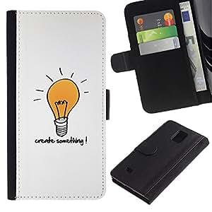 KLONGSHOP / Tirón de la caja Cartera de cuero con ranuras para tarjetas - Creativity Motivational Quote Light Bulb Art - Samsung Galaxy Note 4 SM-N910