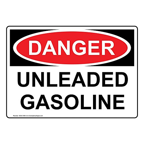 ComplianceSigns Vinyl OSHA Danger Label, 10 x 7 in. with Gasoline Info in English, White