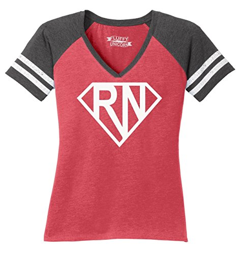 Comical Shirt Ladies Game V-Neck Tee Super RN Super Nurse Tee Girlfriend Wife Mom Nurse Gift Heathered Red/Heathered Charcoal XL