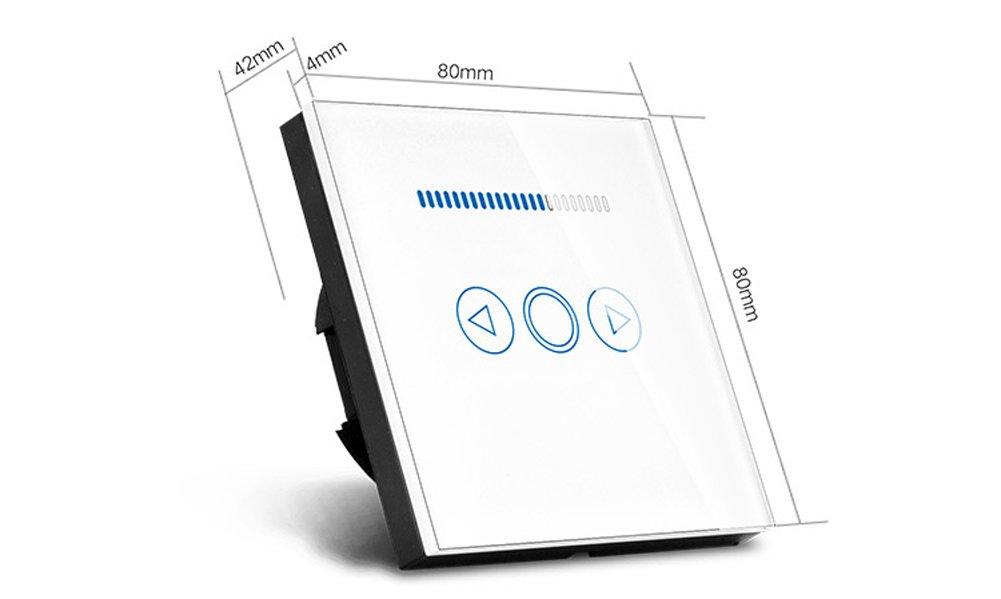 con panel templado y mando a distancia Dorado Interruptor de atenuaci/ón de luz t/áctil de 500 W