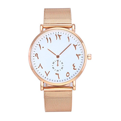 Aehibo Women Quartz Watch Arab Number Unique Analog Fashion Classic Clearance Geneva Stainless Steel Lady Student Watches Female Watches on Sale Watches for Women (gold-white)