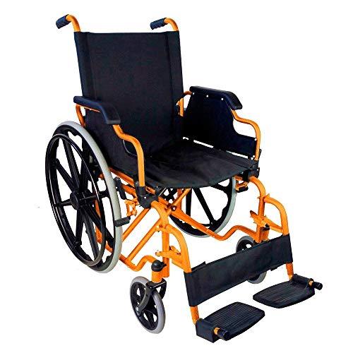 Mobiclinic, modelo Giralda, Silla de ruedas para minusvalidos, premium, plegable, ortopedica, de aluminio, reposapies, reposabrazos, color Naranja, asiento 43 cm, ultraligera