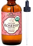 Rosehip Oil Dandruff US Organic Rosehip Seed Oil, USDA Certified Organic, Amber Glass Bottle and Glass Eye Dropper for Easy Application - 120 ml
