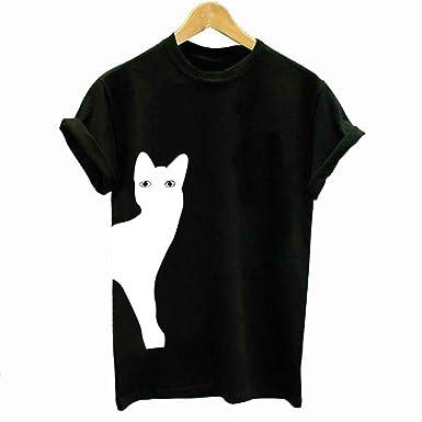 FEJIN Camiseta Casual de Manga Corta con Estampado de Gatos ...