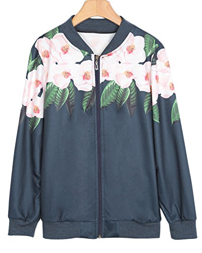 GAMISS Women Casual Bomber Jacket Long Sleeve Floral Print Zip Up Slim Fit Stand Collar Coat, Cadet Blue, (Cadet Collar Jacket)