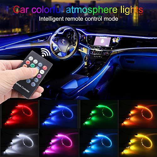 TABEN Auto Omgevingslicht RGB Afstandsbediening Decoratieve Licht Lamp DIY Refit Flexibele Glasvezel Pijp 8 Kleuren…