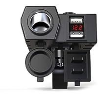 Motorrad Ladegerät Mit Kompass Dual USB Zigarettenanzünder Voltmeter Display Wasserdicht Schnelle Steckdose Leistung