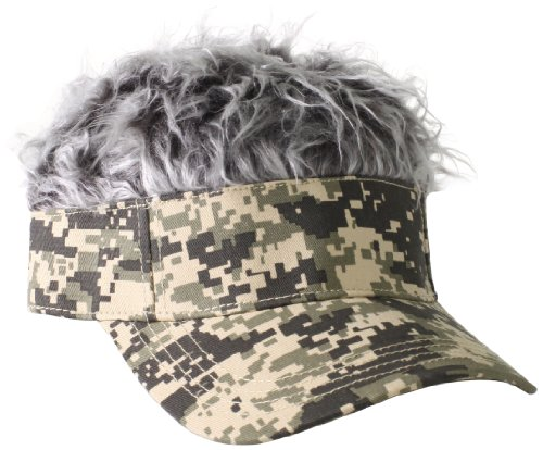 Flair Hair Men's Camo Visor and Hair, Grey, One Size (Hair Hat Visor)