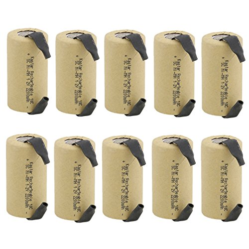 Kastar 10 Pieces SC-2200 SUB-C NI-CD Battery 2200mAh 1.2V, High Drain 10Amp Flat Top Rechargeable Battery With Tabs, Use These To Rebuild Your Batteries Such As Power Tool Dewalt Or Others
