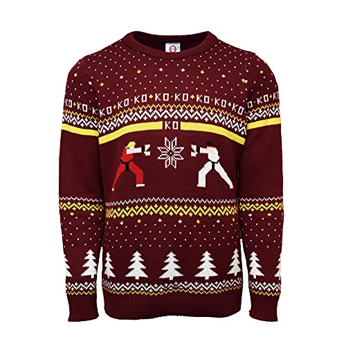 Official Street Fighter Ken Vs Ryu Christmas Jumpers for Men Or Women - Ugly Novelty Gifts Xmas Jumper - Unisex Knitted Sweater Design - Officially Licensed Geek Christmas Jumper (Ladies Retro Christmas Jumper)