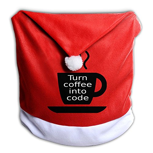 Christmas Seat Cover I TURN COFFEE IN TO CODE Cute Santa Claus Chair Covers 50x60CM ZHONGRANINC