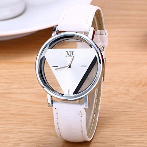 Geetobby Unique Hollowed-Out Triangular Dial Black Fashion Watch for Lover Couple Blue Pink Red White Wrist Watches