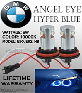 ICBEAMER BMW Angel Eye E60 E61 E90 E92 H8 High Power LED Bulbs 10000K Dark Blue