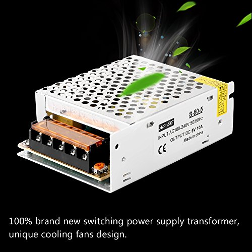 ALLOMN 110V/220V AC to DC 5V 10A 50W Switch Power Supply Driver, Power Transformer for CCTV Camera, Security System, LED Strip Light, Radio, and Computer by ALLOMN (Image #4)