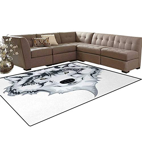 (Tattoo,Carpet,The Majestic Beast Creature Head of a Wild Wolf Tribal Tattoo Design Art Print,Living Dinning Room and Bedroom Rugs,White and Black,6'x8')