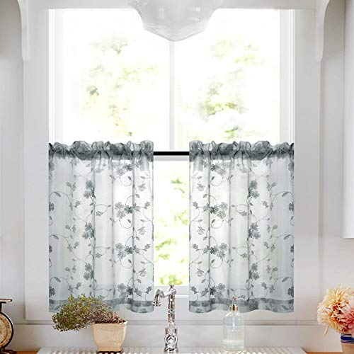Tier Curtains Gray 36 Inch Length Kitchen Cafe Floral Embroidered Sheer Window Curtain Set Grey Voile Floral Drapes Rod Pocket - Kitchen For Curtains