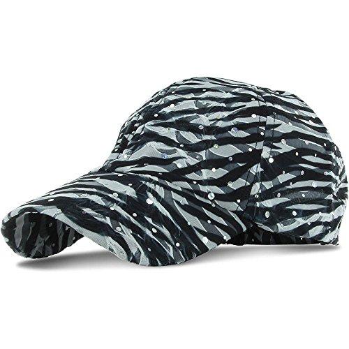 Zebra_100% Polyester Glitter Baseball Cap Golf Hat Rhinestone (US Seller)