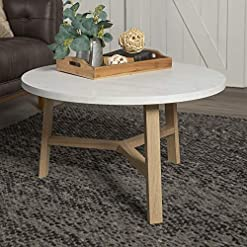 Living Room Walker Edison Furniture AZF30EMCTLO Mid Century Modern Round Coffee Accent Table Living Room, 30 Inch, White Marble… modern coffee tables