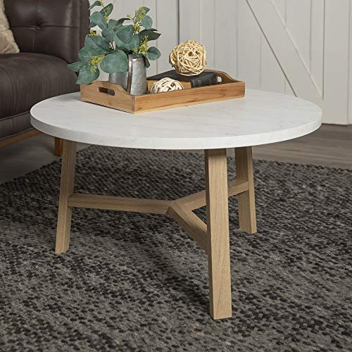 Walker Edison Furniture Azf30emctlo Mid Century Modern Round Coffee Accent Table Living Room 30 Inch White Marble