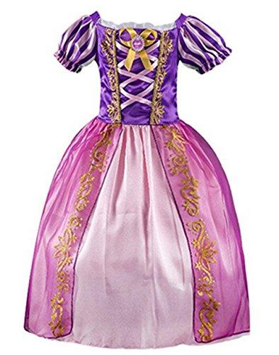 Rapunzel Baby Costumes - MIMIYA Girls' Princess Halloween Cosplay Party Rapunzel Costume Dress (150 (7-8 Years), Purple)