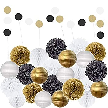 EpiqueOne 22 Piece Black Gold White Table Wall Party Decorations Kit