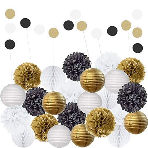 22 Piece Black Gold White Table & Wall Party Decorations Kit | Hanging Tissue Paper Pom Poms, Lanterns, Balls | Birthday Celebrations, Wedding, Graduation Decor