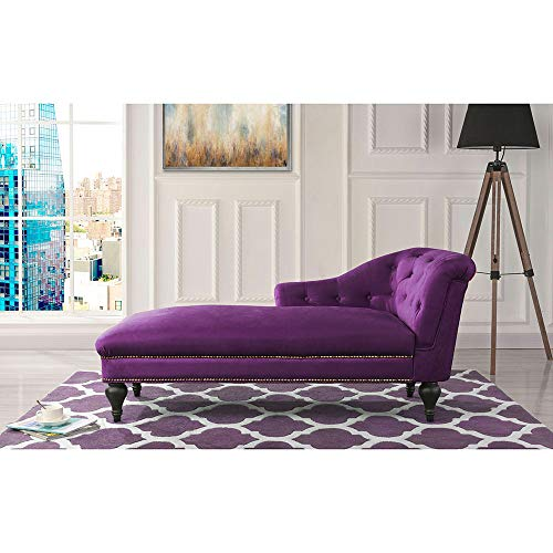 Chaise Lounge Indoor Chair Tufted Velvet Fabric, Modern Long Lounger for Office or Living Room (Purple)