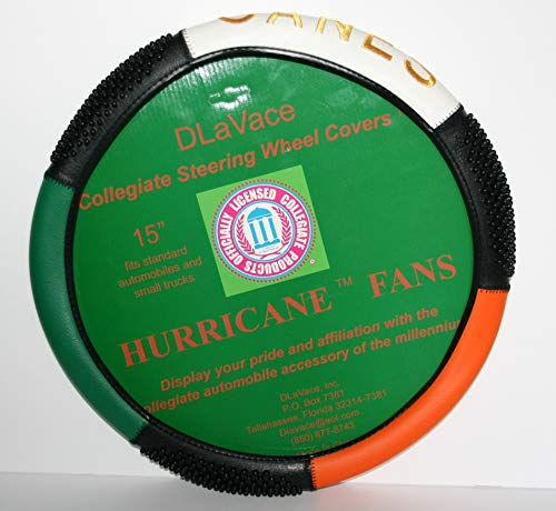 DLaVace University of Miami Canes Steering Wheel Cover 15 inch (Cover Steering Wheel Hurricanes)