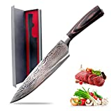 COSAY 8 Inch Chef Knife German 4116 High Carbon Stainless Steel Kitchen Knife For Dealing With Meat, Fruit and Vegetables