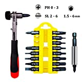 Ratcheting Right Angle Screwdriver with Phillips & Slotted & Hex Screwdriver Bits Set, 1/4-inch Hex Shank, S2 Material (Extension Adapter Included)