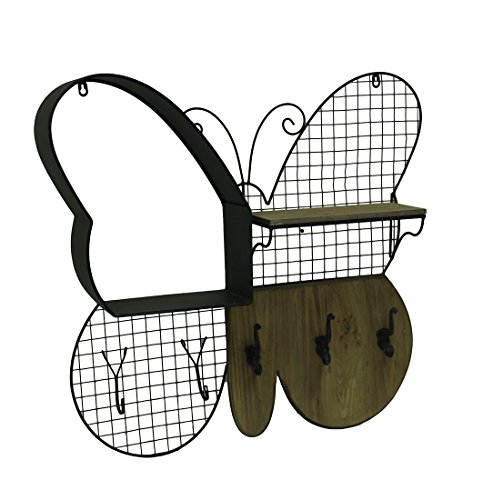 Zeckos Wood & Metal Wall Sculptures Wood And Metal Black Butterfly Shaped Wall Hanging With Shelf And Hooks 29.5 X 27.5 X 5 Inches Black