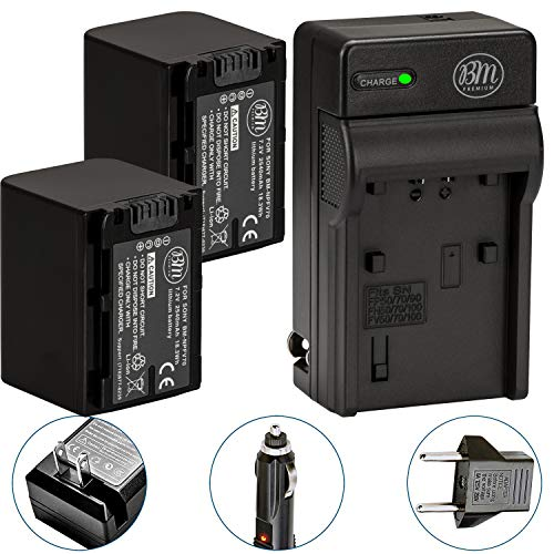 Pack Of 2 NP-FV70 Batteries & Battery Charger Kit for Sony HDR-CX190 HDR-CX200 HDR-CX210 HDR-CX220 HDR-CX230 HDR-CX260V HDR-CX290 HDR-CX380 HDR-CX430V HDR-CX580V HDR-CX760V HDR-PJ230 HDR-PJ380 HDR-PJ4