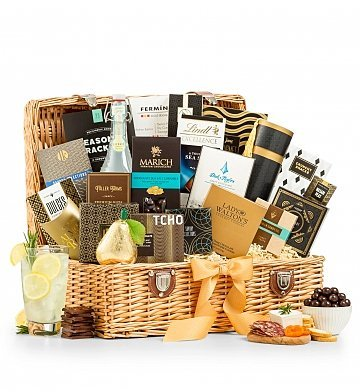 GiftTree Grand Indulgence Gourmet Gift Basket - Assortment of Charcuterie, Fruits, and Chocolate - Premium Gift Basket for Men or Women