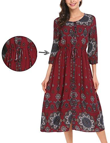 Unibelle Women Ethnic Tie Waist Half Sleeve Casual Loose Boho Maxi Shift Dress, Red, XXL