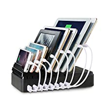 FLECK Charging Station 8-port USB Multi-Device Charging Station, Desktop Docking Station Device Organizer Stand Fast USB Charging For All USB-Powered Devices (Black)