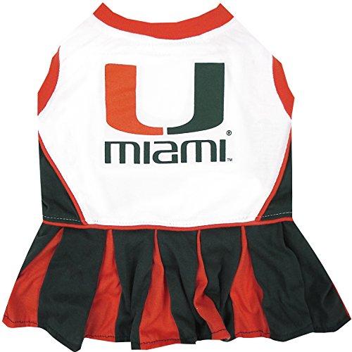 Pets First Collegiate Miami Hurricanes University Dog Cheerleader Dress, - Shop Online Miami